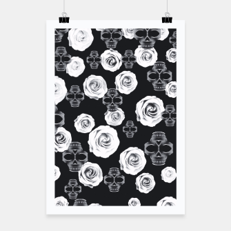 vintage skull and rose abstract pattern in black and white Poster thumbnail image