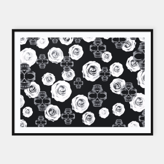vintage skull and rose abstract pattern in black and white Framed poster thumbnail image