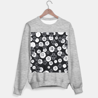 vintage skull and rose abstract pattern in black and white Sweater regular thumbnail image