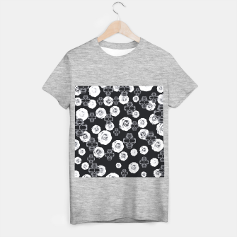 vintage skull and rose abstract pattern in black and white T-shirt regular thumbnail image