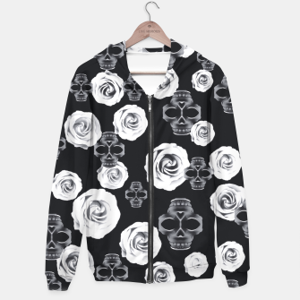 vintage skull and rose abstract pattern in black and white Hoodie thumbnail image
