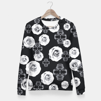 vintage skull and rose abstract pattern in black and white Fitted Waist Sweater thumbnail image