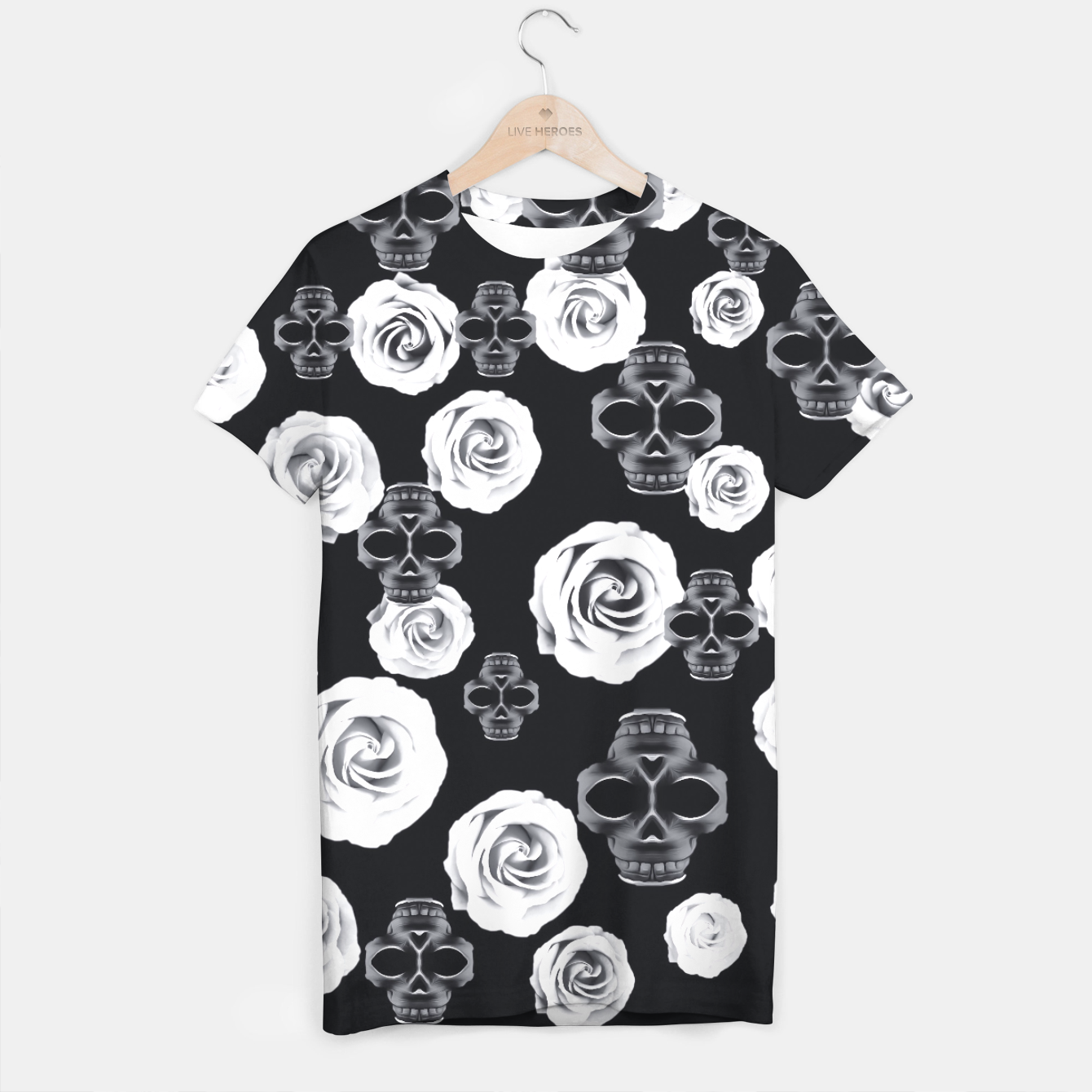 Image of vintage skull and rose abstract pattern in black and white T-shirt - Live Heroes