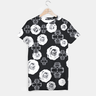vintage skull and rose abstract pattern in black and white T-shirt thumbnail image
