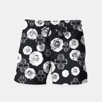 vintage skull and rose abstract pattern in black and white Swim Shorts thumbnail image