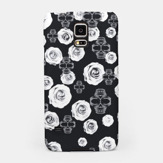 vintage skull and rose abstract pattern in black and white Samsung Case thumbnail image