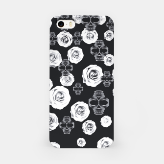 vintage skull and rose abstract pattern in black and white iPhone Case thumbnail image