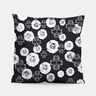 vintage skull and rose abstract pattern in black and white Pillow thumbnail image