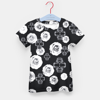 vintage skull and rose abstract pattern in black and white Kid's T-shirt thumbnail image