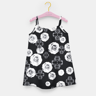 vintage skull and rose abstract pattern in black and white Girl's Dress thumbnail image
