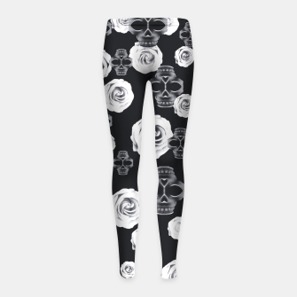 vintage skull and rose abstract pattern in black and white Girl's Leggings thumbnail image