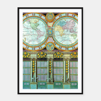 Thumbnail image of Nouveau Monde Old Cartographic Maps Framed poster, Live Heroes
