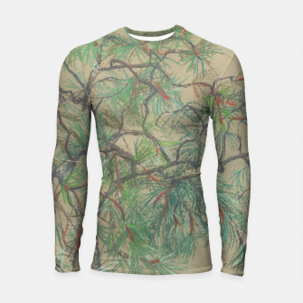 Thumbnail image of Pine-tree branch, floral art, shades of green Longsleeve Rashguard , Live Heroes