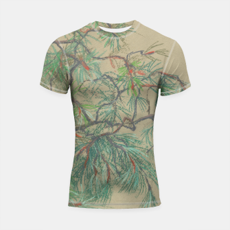 Thumbnail image of Pine-tree branch, floral art, shades of green Shortsleeve Rashguard, Live Heroes