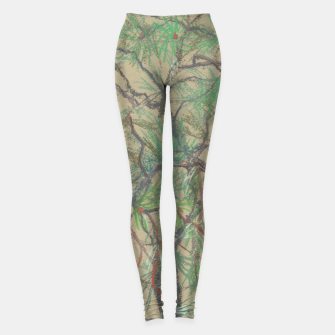 Thumbnail image of Pine-tree branch, floral art, shades of green Leggings, Live Heroes