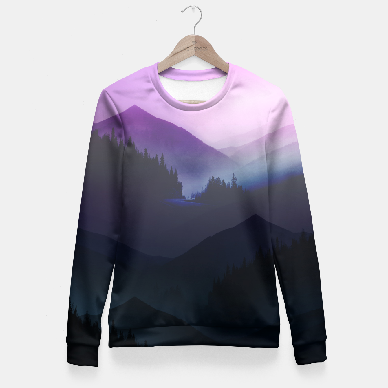 Image of Purple Misty Mountains Fitted Waist Sweater - Live Heroes