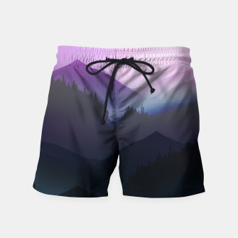 Thumbnail image of Purple Misty Mountains Swim Shorts, Live Heroes