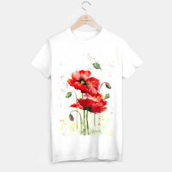 Miniaturka Watercolor red poppy flowers T-shirt regular, Live Heroes