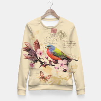 Thumbnail image of Vintage illustration with bird and butterfly Fitted Waist Sweater, Live Heroes