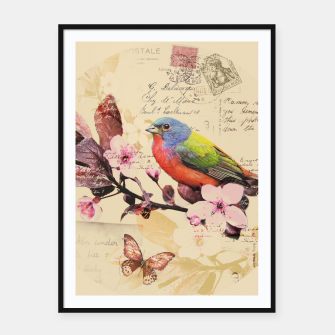 Imagen en miniatura de Vintage illustration with bird and butterfly Framed poster, Live Heroes
