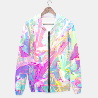 Tropical croton leaves 1/2 Zip up hoodie thumbnail image