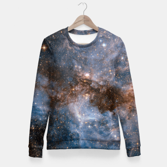 Thumbnail image of The Nebula - Red and Orange Space Nebulae Woman cotton sweater, Live Heroes
