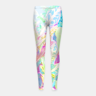 Tropical croton leaves 1/2 Girl's leggings thumbnail image