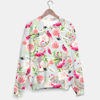 Miniature de image de Flowered boho with flamingos Sudadera, Live Heroes