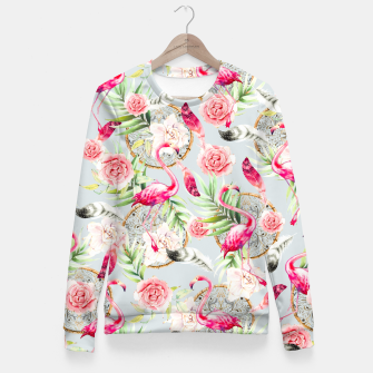 Thumbnail image of Flowered boho with flamingos Sudadera entallada, Live Heroes