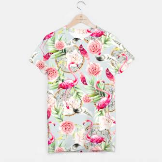 Thumbnail image of Flowered boho with flamingos Camiseta, Live Heroes
