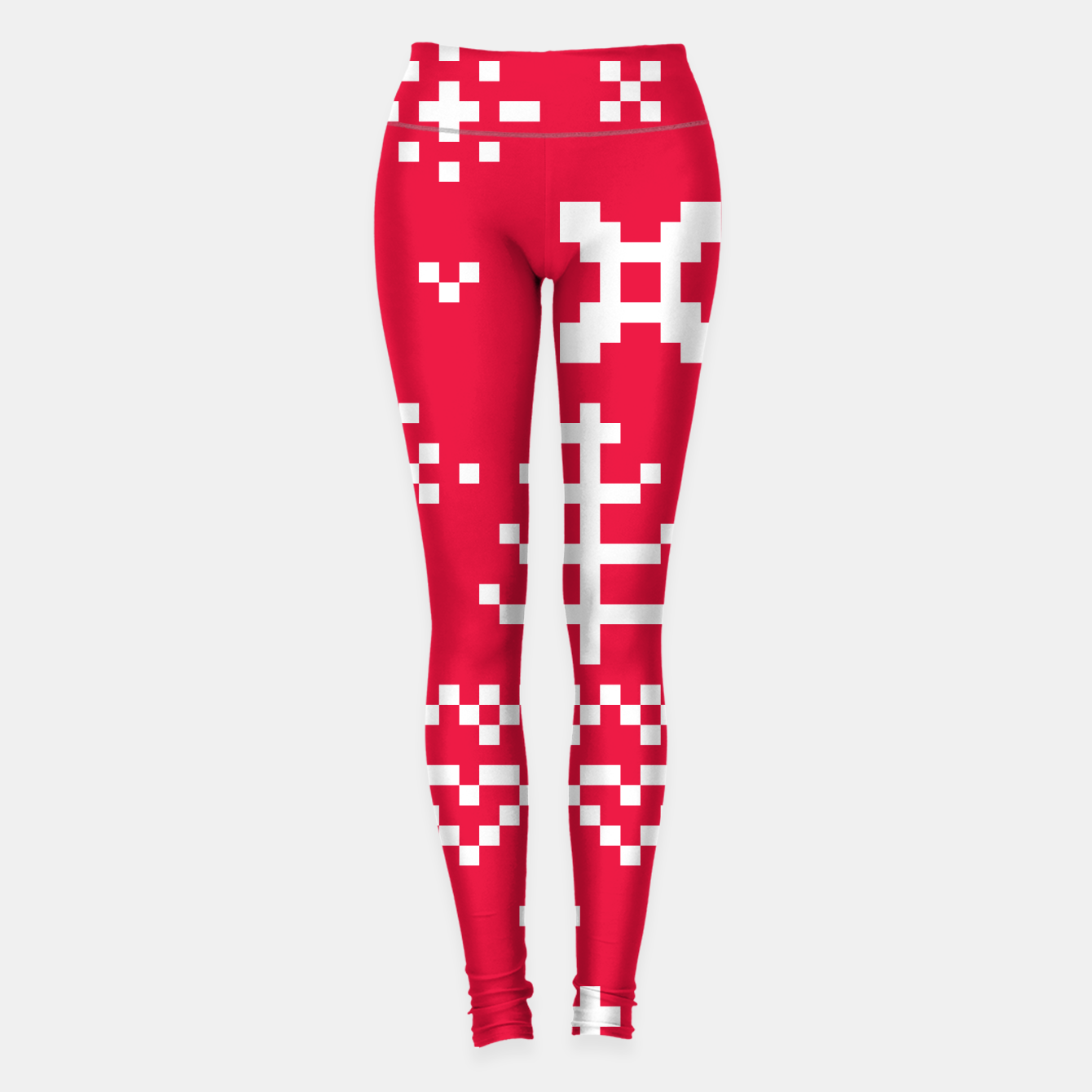 Image of Amazing Sporty FOLK LEGGINGS white and red II - Live Heroes