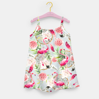 Thumbnail image of Flowered boho with flamingos Vestido para niñas, Live Heroes