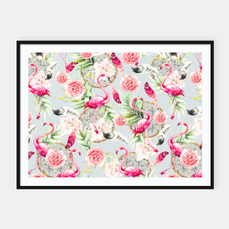 Miniature de image de Flowered boho with flamingos Cartel con marco, Live Heroes