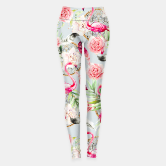 Thumbnail image of Flowered boho with flamingos Leggings, Live Heroes