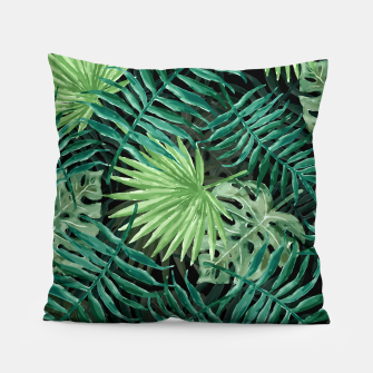 Miniatur Large Fern Palm and Monstera Jungle Leafs Pillow, Live Heroes