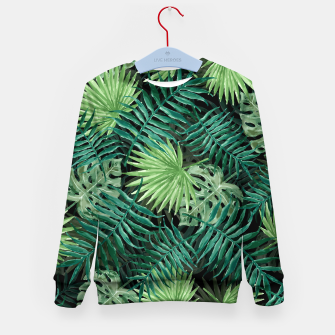 Miniatur Large Fern Palm and Monstera Jungle Leafs Kid's sweater, Live Heroes