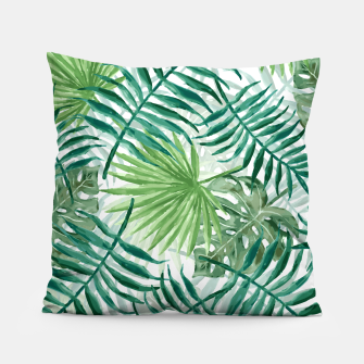 Miniatur Large Fern Palm and Monstera Tropical Plant Leafs Pillow, Live Heroes