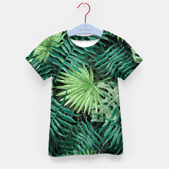 Miniatur Large Fern Palm and Monstera Jungle Leafs Kid's t-shirt, Live Heroes