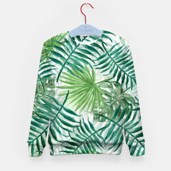Miniatur Large Fern Palm and Monstera Tropical Plant Leafs Kid's sweater, Live Heroes