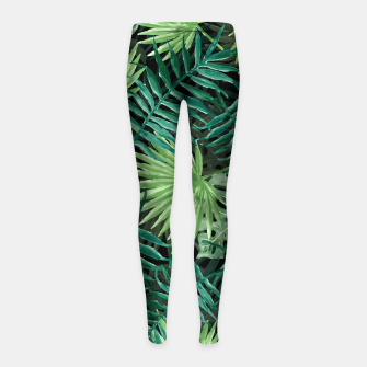 Miniatur Large Fern Palm and Monstera Jungle Leafs Girl's leggings, Live Heroes