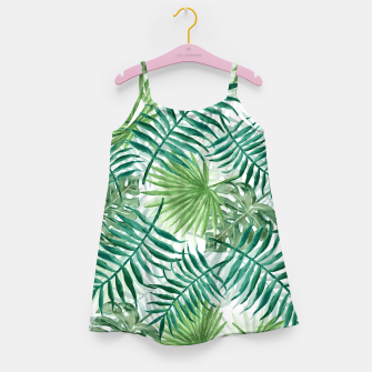 Miniatur Large Fern Palm and Monstera Tropical Plant Leafs Girl's dress, Live Heroes