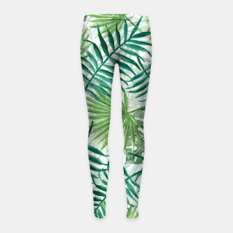 Miniatur Large Fern Palm and Monstera Tropical Plant Leafs Girl's leggings, Live Heroes