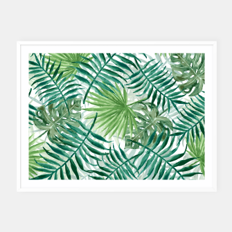 Miniatur Large Fern Palm and Monstera Tropical Plant Leafs Framed poster, Live Heroes