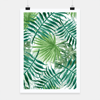 Miniatur Large Fern Palm and Monstera Tropical Plant Leafs Poster, Live Heroes