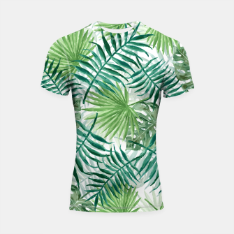 Miniatur Large Fern Palm and Monstera Tropical Plant Leafs Shortsleeve rashguard, Live Heroes