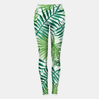 Miniatur Large Fern Palm and Monstera Tropical Plant Leafs Leggings, Live Heroes