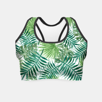 Miniatur Large Fern Palm and Monstera Tropical Plant Leafs Crop Top, Live Heroes