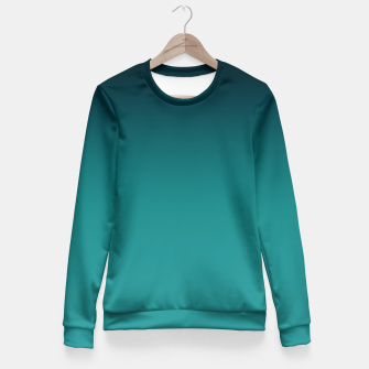 Thumbnail image of Black turquoise ombre gradient Fitted Waist Sweater, Live Heroes