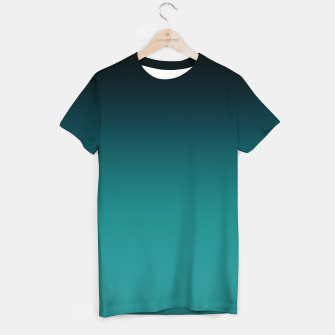 Thumbnail image of Black turquoise ombre gradient T-shirt, Live Heroes