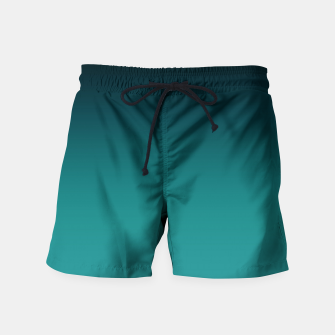 Thumbnail image of Black turquoise ombre gradient Swim Shorts, Live Heroes